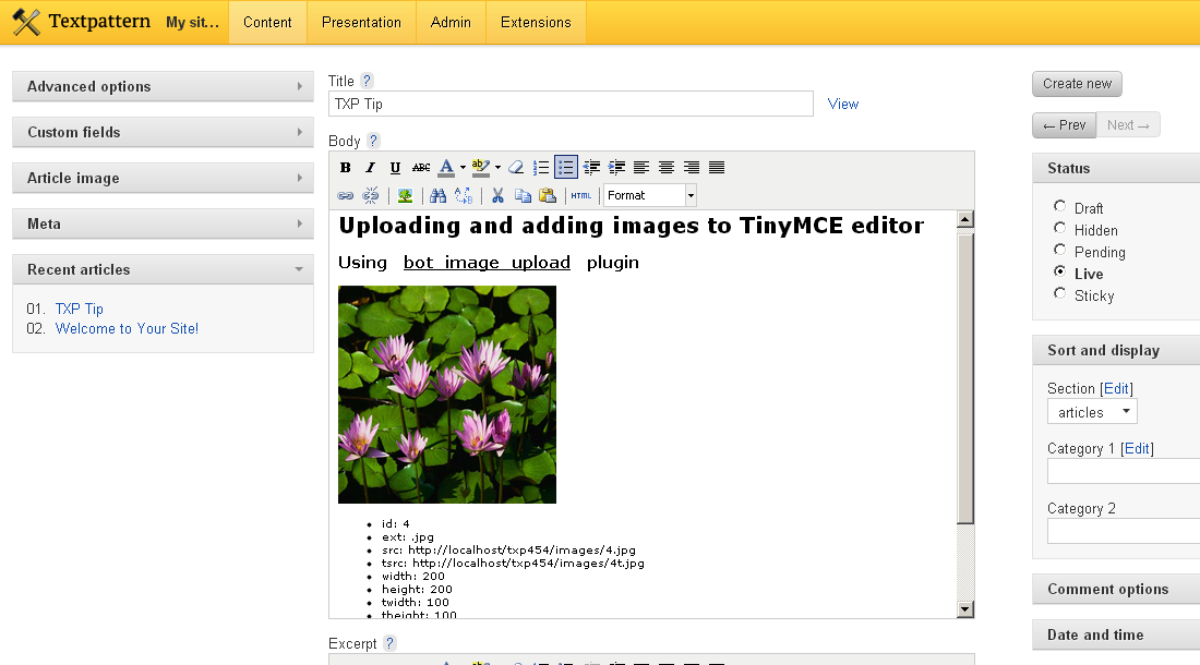 Upload images via the Write tab and TinyMCE | Textpattern Tips